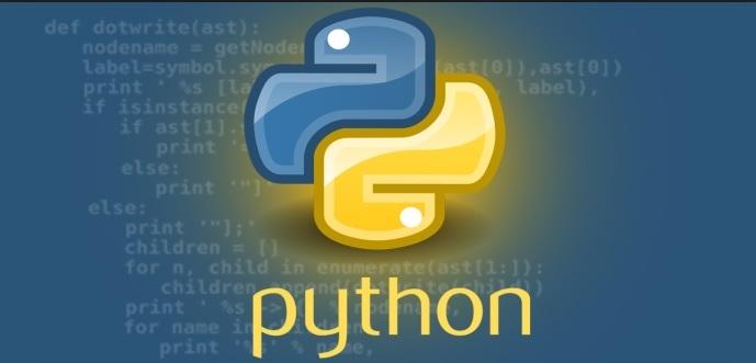 L'image représente le logo du langage Python, elle représente un serpent (python) de couleur bleu et jaune, le fond de l'image est bleu avec des écritures représentant la syntaxe du langage Python